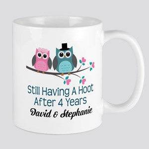 4th Anniversary Personalized Owls Mugs