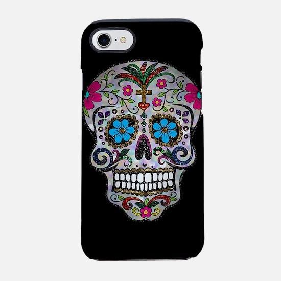 sequin Sugar Skulls iPhone 7 Tough Case