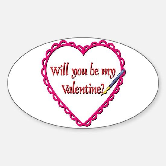 Will You Be My Valentine? Sticker (Oval)