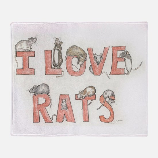 I LOVE RATS Throw Blanket