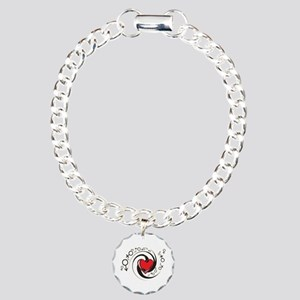 Tribal Red Heart and Symbols Charm Bracelet, One C