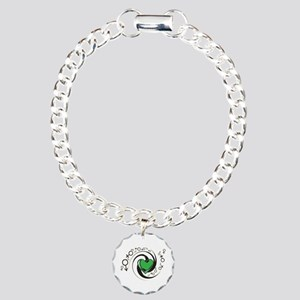 Tribal Green Heart and Symbols Charm Bracelet, One