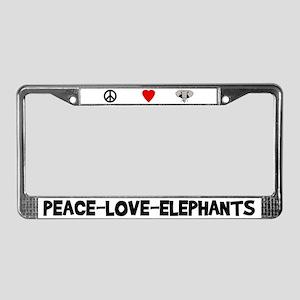 Peace-Love-Elephants License Plate Frame