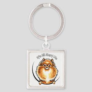 Orange Pomeranian IAAM Square Keychain
