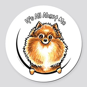 Orange Pomeranian IAAM Round Car Magnet