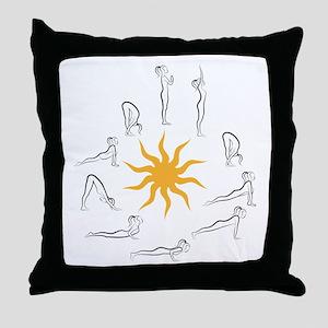 yoga sun salutation Throw Pillow