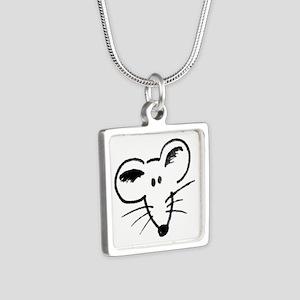 Rat Face Silver Square Necklace