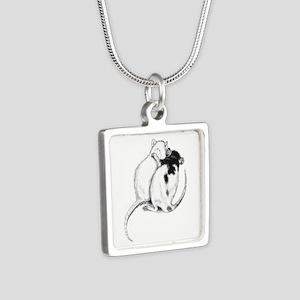 Rat Hug Silver Square Necklace