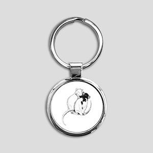 Rat Hug Round Keychain