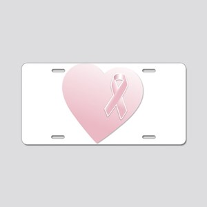 Pink Breast Cancer Ribbon and Heart Aluminum Licen