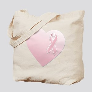 Pink Breast Cancer Ribbon and Heart Tote Bag