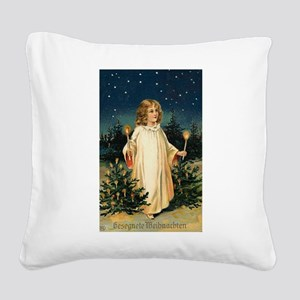 German Christmas Girl with Ca Square Canvas Pillow