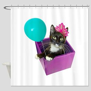Tuxedo Cat Birthday Shower Curtain