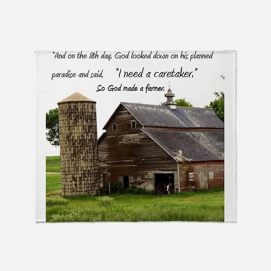 God Made a Farmer Throw Blanket