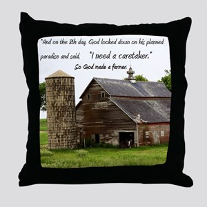 God Made a Farmer Throw Pillow