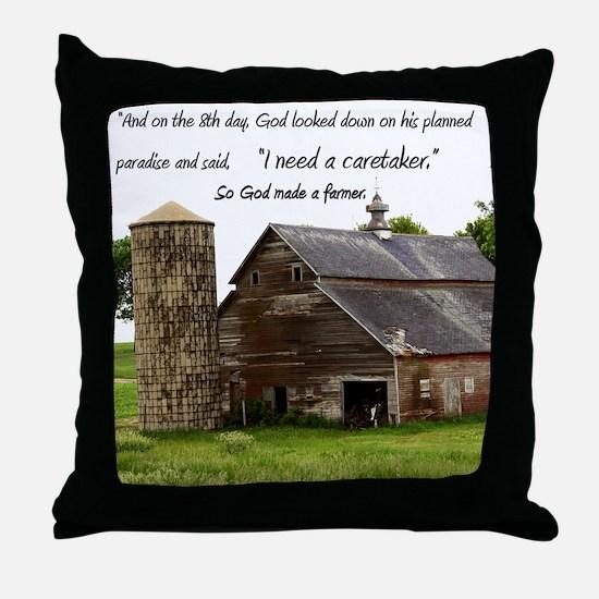 God Made a Farmer Throw Pillow