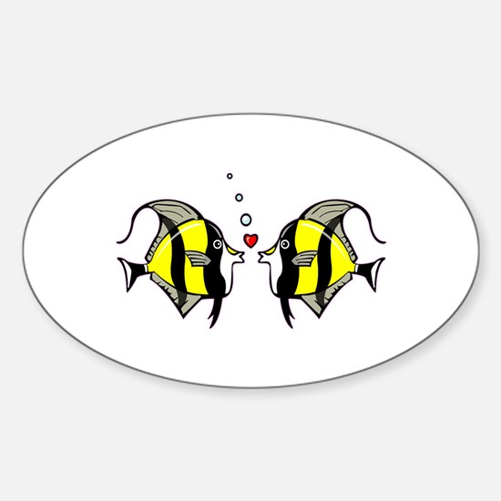 Yellow and Black Kissing Fish Sticker (Oval)