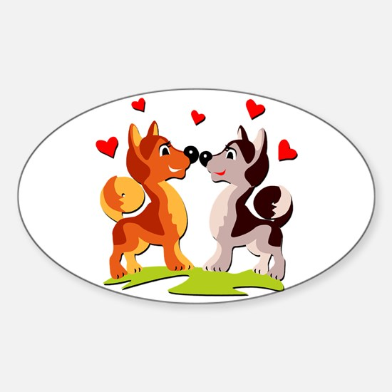 In Love Dogs Sticker (Oval)