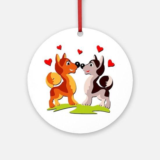 In Love Dogs Ornament (Round)