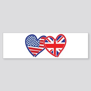 American Flag/Union Jack Flag Hearts Sticker (Bump