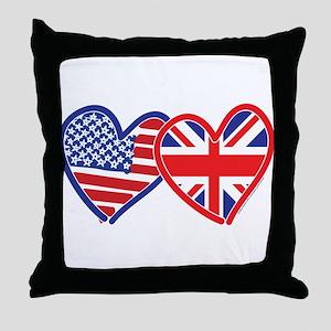 American Flag/Union Jack Flag Hearts Throw Pillow