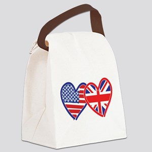American Flag/Union Jack Flag Hearts Canvas Lunch
