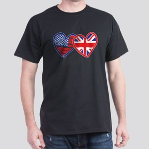 American Flag/Union Jack Flag Hearts Dark T-Shirt