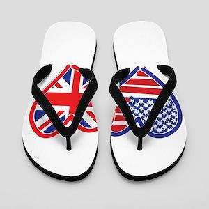 American Flag/Union Jack Flag Hearts Flip Flops