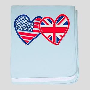 American Flag/Union Jack Flag Hearts baby blanket