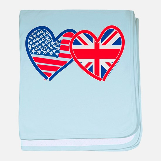 American Flag/Union Jack Flag Hearts baby blanket