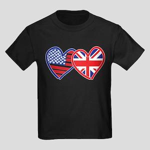 American Flag/Union Jack Flag Hearts Kids Dark T-S