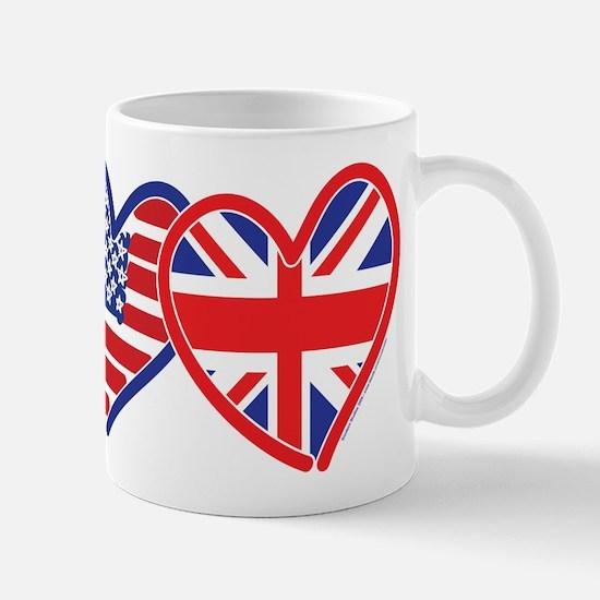 American Flag/Union Jack Flag Hearts Mug