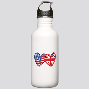 American Flag/Union Jack Flag Hearts Stainless Wat