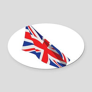 Union Jack Wavy Flag Oval Car Magnet