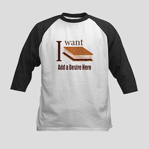 I Want Smore Add Text Kids Baseball Jersey