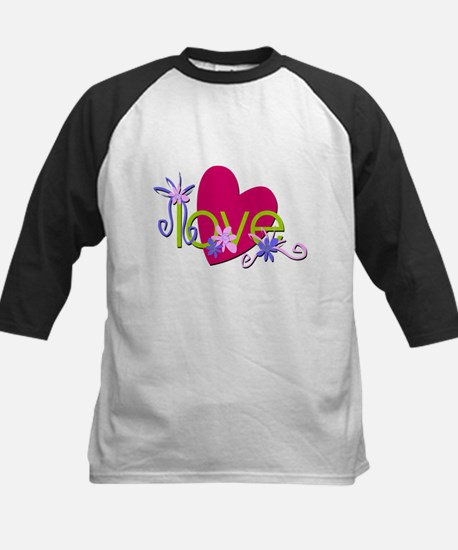 Hearty Love and Flowers Kids Baseball Jersey