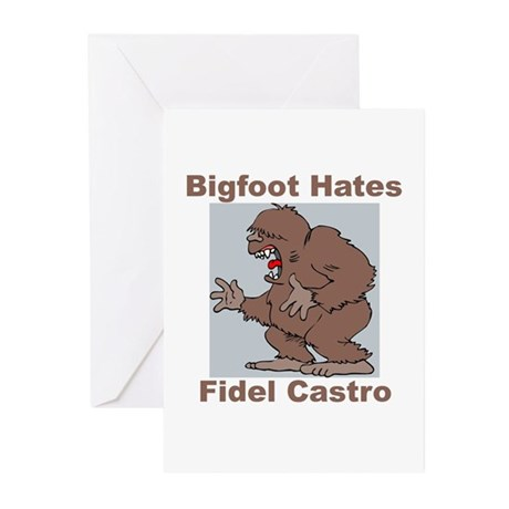 Bigfoot Hates Castro Greeting Cards (Pk of 10)
