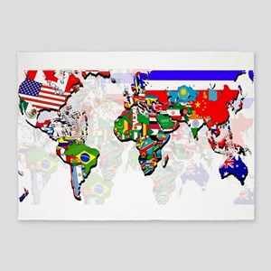 World Flag Map 5'x7'Area Rug