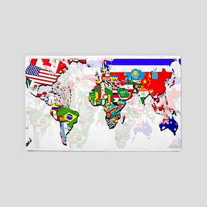 World Flag Map 3'x5' Area Rug