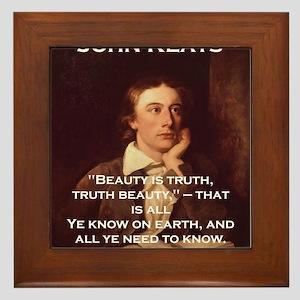 Beauty Is Truth - John Keats Framed Tile