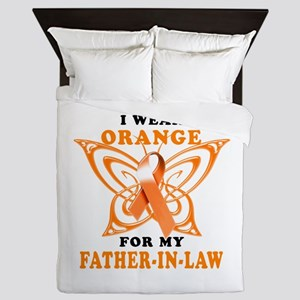 I Wear Orange for my Father in Law Queen Duvet