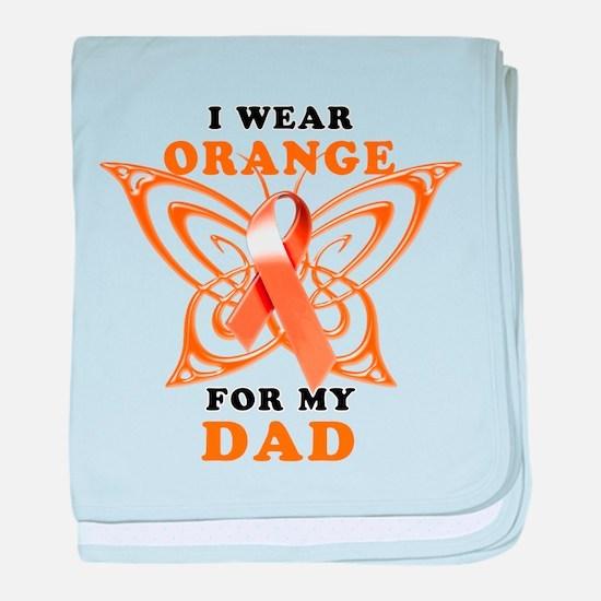 I Wear Orange for my Dad baby blanket