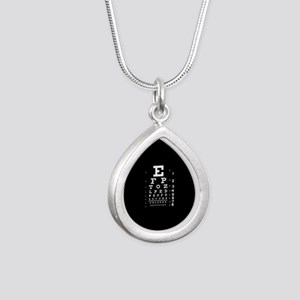 Eye chart gift Silver Teardrop Necklace