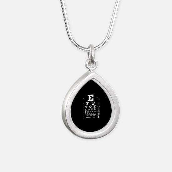 Eye chart gift Silver Teardrop Necklace