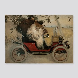 Vintage Painting of Car and Dogs 5'x7'Area Rug