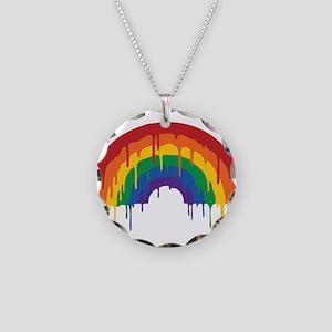 Rainbow Necklace Circle Charm