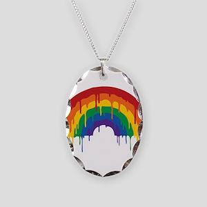 Rainbow Necklace Oval Charm