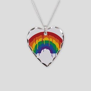 Rainbow Necklace Heart Charm