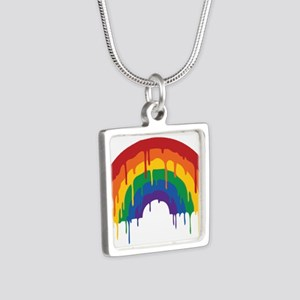 Rainbow Silver Square Necklace