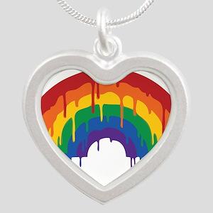 Rainbow Silver Heart Necklace